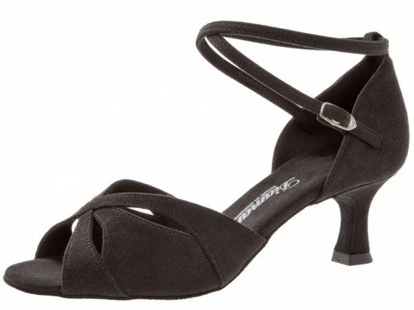 Damen Sandalette mit 5 cm Absatz, zierlicher Schnitt, Glitzerndes schwarzes Veloursleder