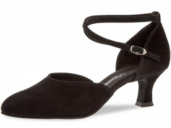 Damen Tanzschuhe Diamant Modell 58: geschlossene Sandalette Veloursleder schwarz 5 cm Absatz