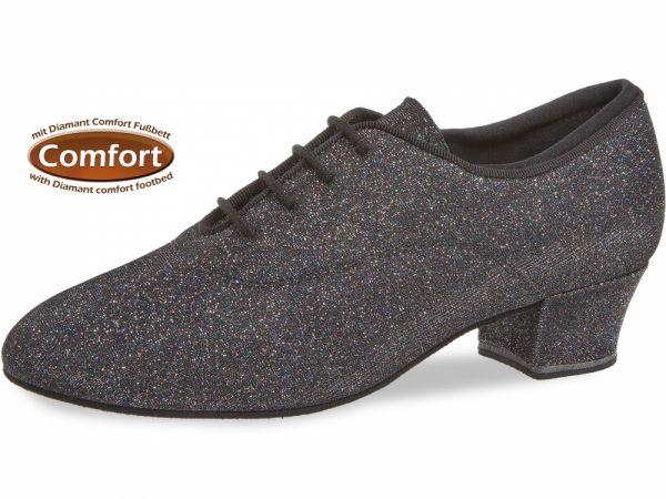 Damen Tanzschuh Diamant Modell 140: Brokat schwarz-silber, 3,7 cm Absatz